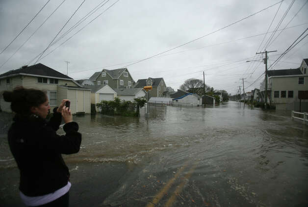 Flooding from Hurricane Sandy on Melba Street in Milford on Monday, October 29, 2012. Photo: Brian A. Pounds