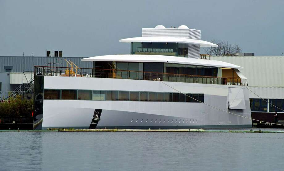 "The yacht ordered by Apple's late founder Steve Jobs remains docked at the De Vries shipyard in Aalsmeer, the Netherlands, on October 29, 2012. The recently launched luxurious yacht named ""Venus"" was envisioned by French designer Philippe Starck and built by Feadship, a Dutch shipbuilder. AFP PHOTO / ANP / ED OUDENAARDEN   ***Netherlands out*** Photo: ED OUDENAARDEN, AFP/Getty Images / 2012 AFP"