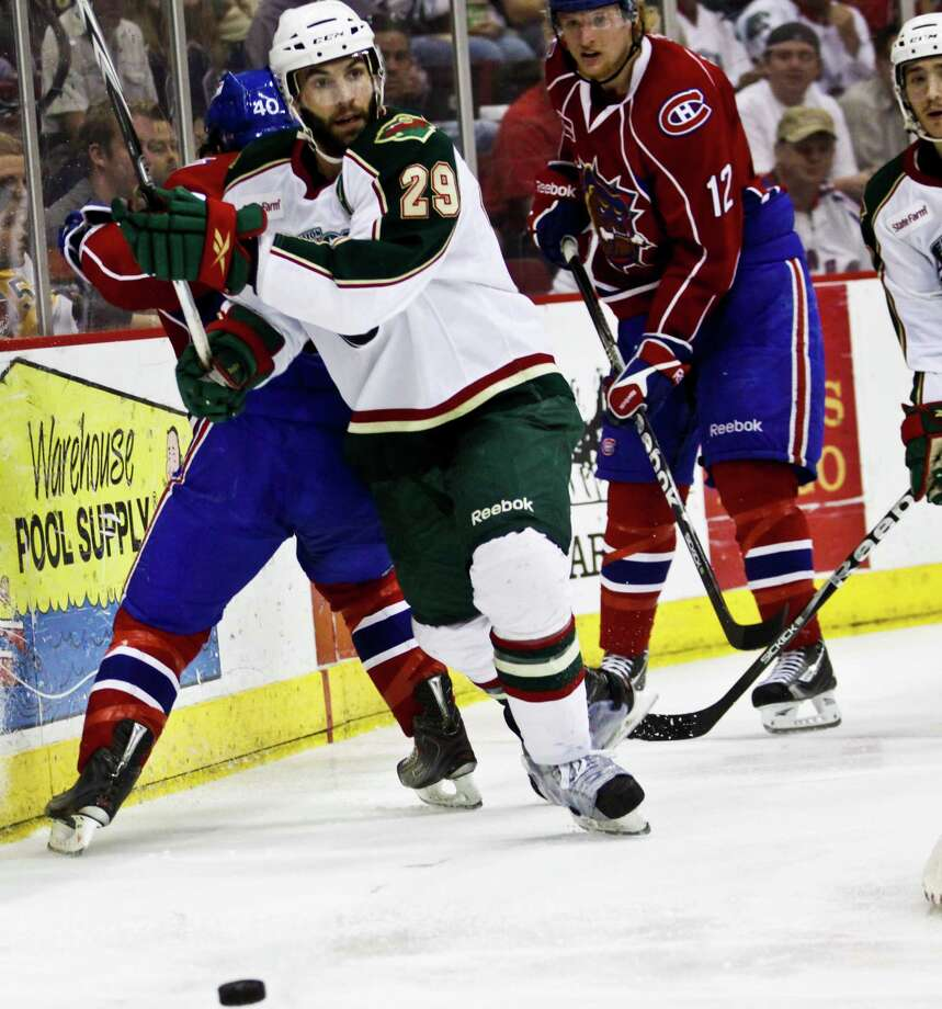 "A hockey tradition involves the ""playoff beard"", which is when players do not shave during the playoffs.  Want to see some bearded men on ice? Just check out the Aeros in the playoffs.  Photo: Eric Kayne, For The Houston Chronicle / Freelance"