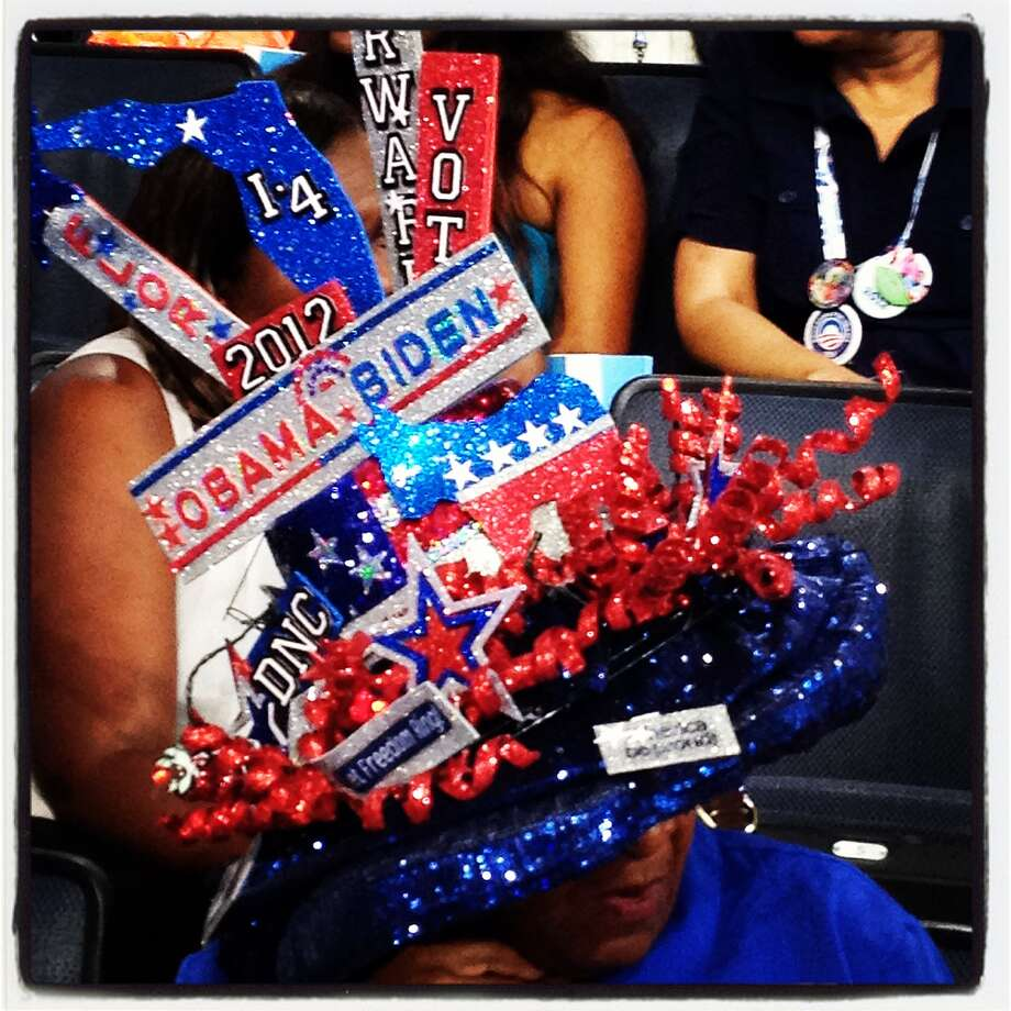 A person wears a hat during the Democratic National Convention (DNC) at Time Warner Cable Arena September 4, 2012 in Charlotte, North Carolina. The Democratic National Convention is scheduled to start on Tuesday and run through September 6th. Photo: Justin Sullivan, Getty Images / 2012 Getty Images
