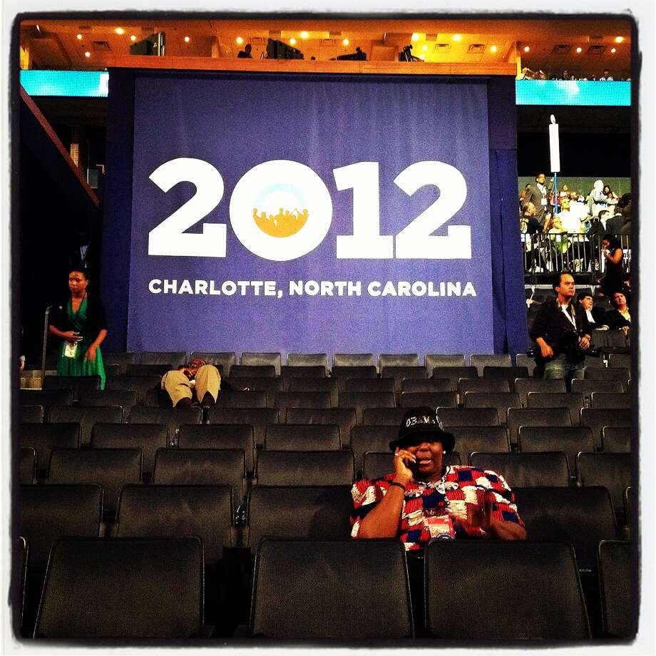 People sit in seats at the end of day two of the Democratic National Convention at Time Warner Cable Arena on September 5, 2012 in Charlotte, North Carolina. Former U.S. President Bill Clinton nominated U.S. President Barack Obama as the Democratic presidential candidate. Photo: Justin Sullivan, Getty Images / 2012 Getty Images