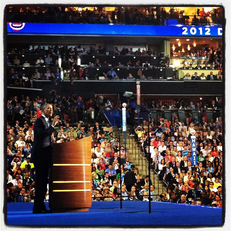 U.S. President Barack Obama speaks on stage during day three of the Democratic National Convention at Time Warner Cable Arena on September 6, 2012 in Charlotte, North Carolina. Clinton nominated U.S. President Barack Obama as the Democratic presidential candidate. Photo: Justin Sullivan, Getty Images / 2012 Getty Images