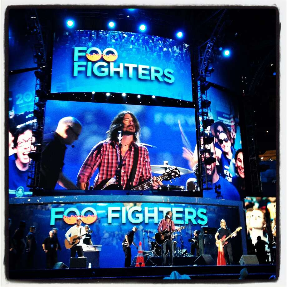 The Foo Fighters do a sounds check during day three of the Democratic National Convention at Time Warner Cable Arena on September 6, 2012 in Charlotte, North Carolina. Clinton nominated U.S. President Barack Obama as the Democratic presidential candidate. Photo: Justin Sullivan, Getty Images / 2012 Getty Images