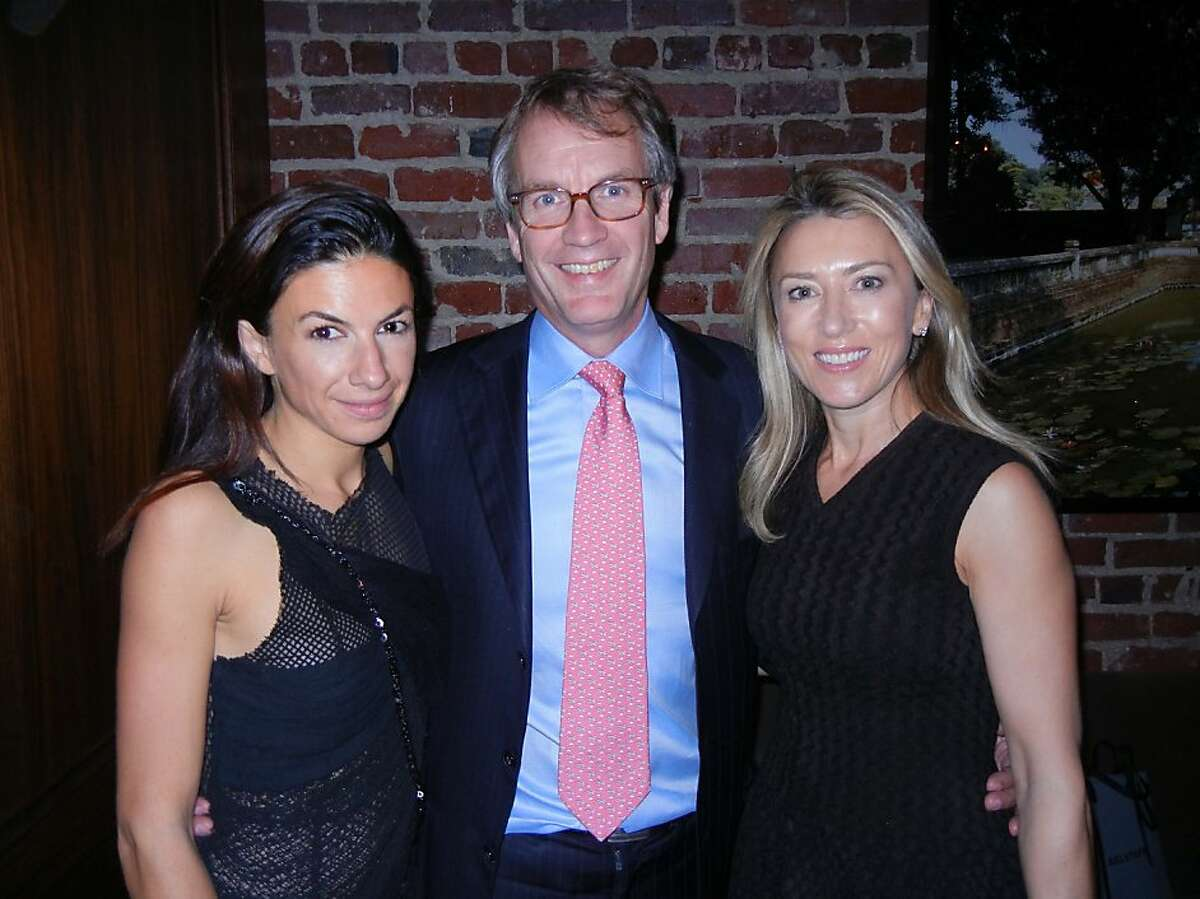 Gallerist Sabrina Buell (left) with Texas Pacific Group partner Peter McMillan and venture capitalist Juliet de Baubigny at Quince. October 2012. By Catherine Bigelow.