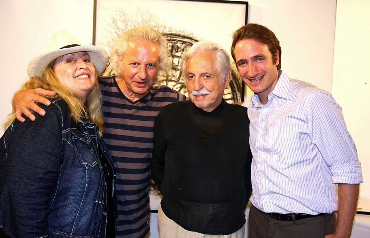 Ronee Blakley (left) with Dale Djerassi, his father, Dr. Carl Djerassi and his son, Alexander Djerassi at the Djerassi Resident Artist Program's Artful Harvest. October 2012. By Laura Amador.