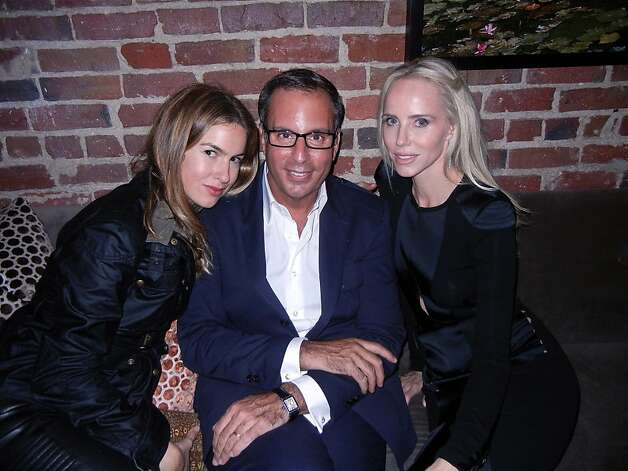 Photographer and co-host Claiborne Swanson Frank (left), Belstaff owner Harry Slatkin, co-host Vanessa Getty at Quince. Photo: Catherine Bigelow, Special To The Chronicle