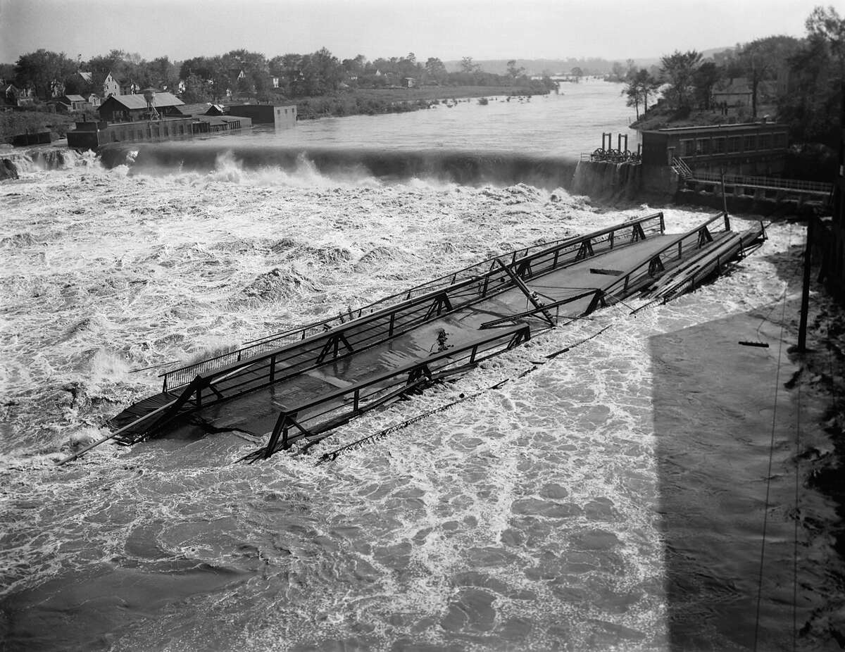 The great hurricane of 1938, some called the Yankee Clipper, and Hurricane Carol in 1954, wreaked havoc on the east coast and were two of the most devastating storms in modern history. Above: Undermined and weakened by flood waters, the Chicopee Falls Bridge over the Connecticut River , is shown Sep. 23, 1938 at Springfield, Mass.