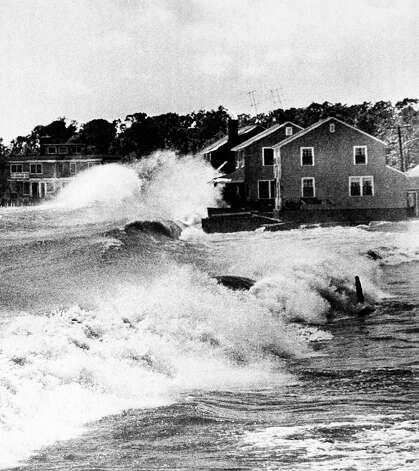 Hundreds of summer cottages were destroyed when high winds and water caused by the hurricane smashed into the Connecticut shores in Old Lyme, Connecticut on Tuesday, August 31, 1954. This is a typical scene, it shows cottages at Point Woods Beach taking the worst the Long Island Sound had to offer. Photo: AP