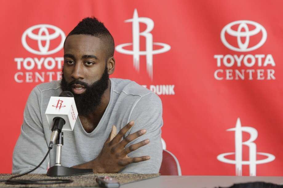 James Harden speaks during Monday's news conference. (Melissa Phillip / Chronicle)