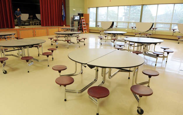 The cafeteria room in the Albany County Sheriff's Office and Public Safety  & Community Resource Building which is set up as a shelter should Hurricane Sandy knock out power and wreak havoc on Monday, Oct. 29, 2012 in Clarksville, N.Y. This room, in the former Clarksville Elementary School, will be used to set up cots if needed.  (Lori Van Buren / Times Union) Photo: Lori Van Buren