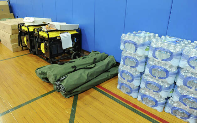 Emergency supplies such as generators, cots and bottled water are stored in a gym at the Albany County Sheriff's Office and Public Safety  & Community Resource Building which is set up as a shelter should Hurricane Sandy knock out power and wreak havoc on Monday, Oct. 29, 2012 in Clarksville, N.Y. The building used to be Clarksville Elementary School. (Lori Van Buren / Times Union) Photo: Lori Van Buren