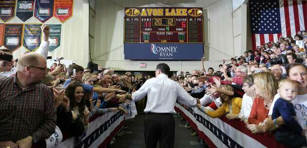 Republican presidential candidate Mitt Romney during a campaign event in Avon, Ohio, Oct. 29, 2012. On Monday, President Barack Obama and Romney cancelled campaign events in preparation of Hurricane Sandy. (Stephen Crowley/The New York Times) Photo: NYT, STF / New