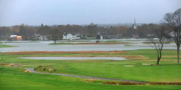 High tide and wind from Hurricane Sandy caused sections of the Country Club of Fairfield golf course  under water on Monday, Oct. 29, 2012. Photo: Cathy Zuraw