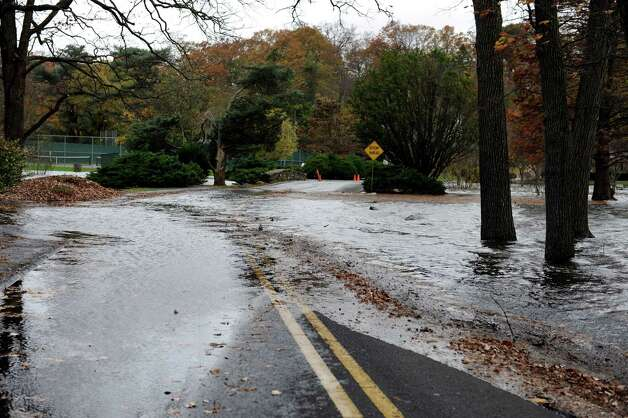 Binney Park flooded from hurricane Sandy in Old Greenwich, Monday, Oct. 29, 2012. Photo: Helen Neafsey / Greenwich Time