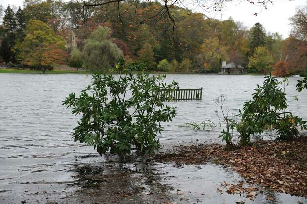 Binney Park flooded from hurricane Sandy in Old Greenwich Monday, Oct. 29, 2012. Photo: Helen Neafsey / Greenwich Time