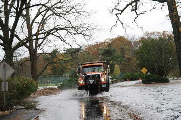 A truck in Binney Park during hurricane Sandy in Old Greenwich, Monday, Oct. 29, 2012. Photo: Helen Neafsey / Greenwich Time