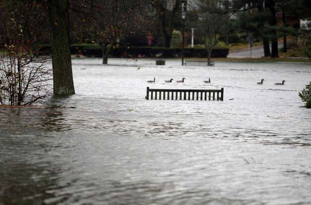 Binney Park in Old Greenwich, Conn. is awash with water as the early stages of Sandy brought high winds, tidal surges and rain to the tri-state area on Monday, Oct. 29, 2012. Photo: J. Gregory Raymond