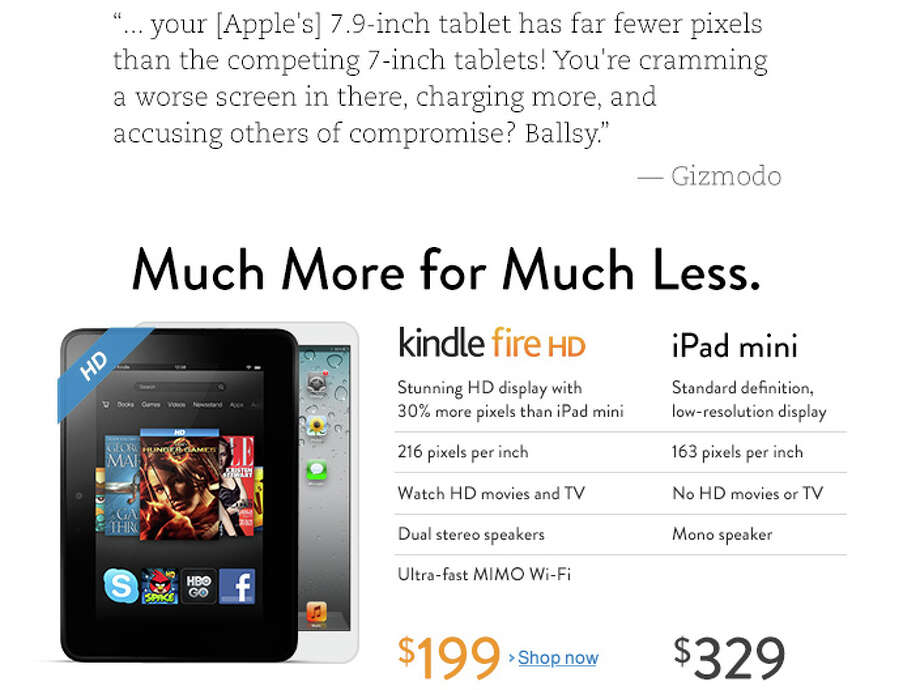 A screen shot from Amazon's home page on Monday, Oct. 29, 2012, comparing the Kindle Fire HD and iPad Mini. Photo: Amazon
