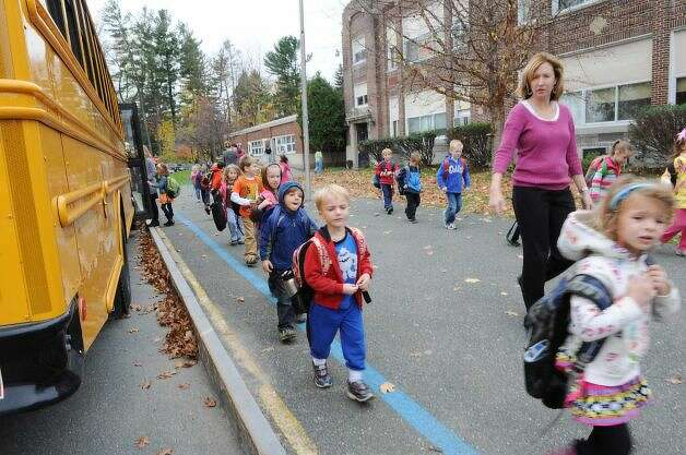 Students are dismissed early at Elsmere Elementary School due to Hurricane Sandy on Monday, Oct. 29,  in Delmar. (Lori Van Buren / Times Union)