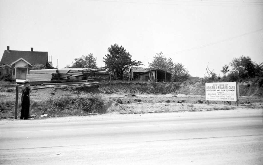 This picture from May 1946 shows the future home of Kaiser and Fraser Cars Rototillers and Farm Equipment. The site was also home to Eckern's Bellevue Automotive Company. Photo: MOHAI, Seattle Post-Intelligencer Collection