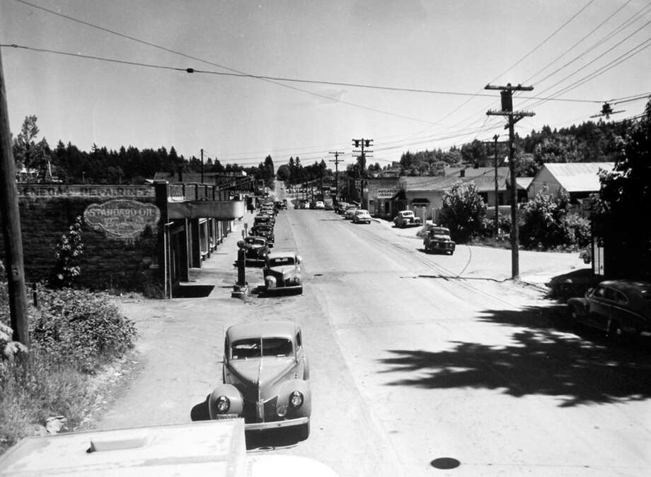 This June 1949 picture shows Main Street in the original business district of Bellevue. Photo: MOHAI, Seattle Post-Intelligencer Collection