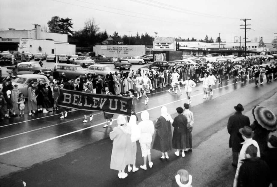 This Dec. 1955 parade in downtown Bellevue came after it was named an All-American City. Photo: MOHAI, Seattle Post-Intelligencer Collection