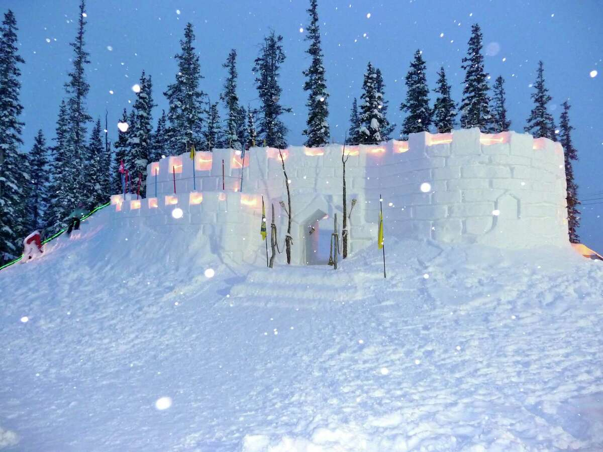 Every year a huge snow fort is built on the top of Keystone's Dercum Mountain for kids. This was the fort in 2010.