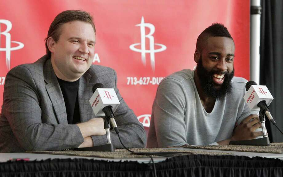 Houston Rockets GM Dayrl Morey, left, and newly acquired guard James Harden speak during media conference at Toyota Center, 1510 Polk Street, Monday, Oct. 29, 2012, in Houston. Photo: Melissa Phillip, Houston Chronicle / © 2012 Houston Chronicle