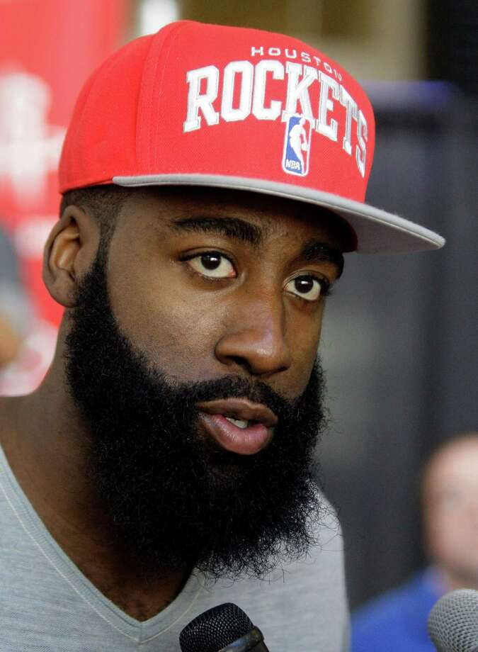 Houston Rockets newly acquired guard James Harden speaks during media conference at Toyota Center, 1510 Polk Street, Monday, Oct. 29, 2012, in Houston. Photo: Melissa Phillip, Houston Chronicle / © 2012 Houston Chronicle