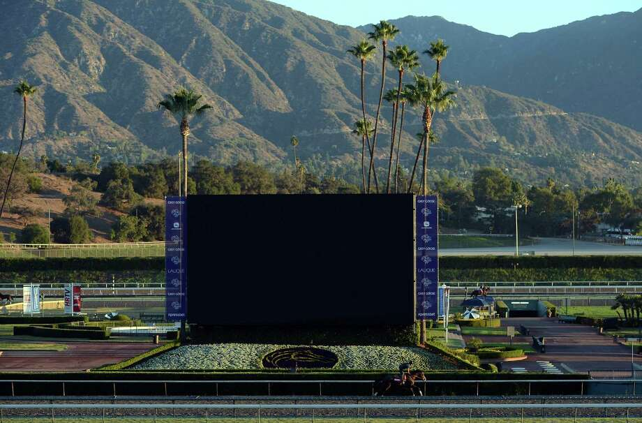 ARCADIA, CA - OCTOBER 29:  View of the track as a horse trains in preparation for the 2012 Breeder's Cup at Santa Anita Park on October 29, 2012 in Arcadia, California.  (Photo by Harry How/Getty Images) Photo: Harry How