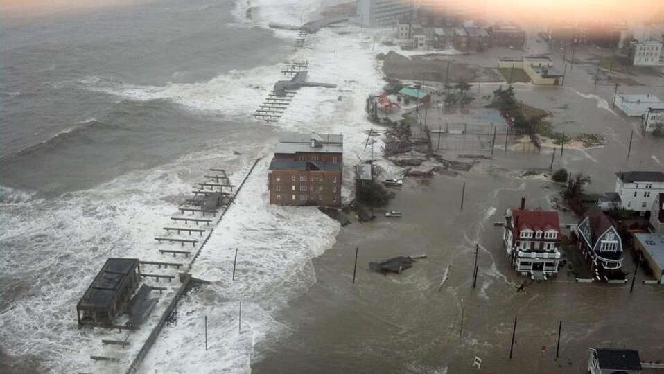 This photo provided by 6abc Action News shows the Inlet section of Atlantic City, N.J., as Hurricane