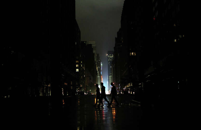Power outage seen  on October 29, 2012 in Manhattan, New York. Hurricane Sandy, which threatens 50 m