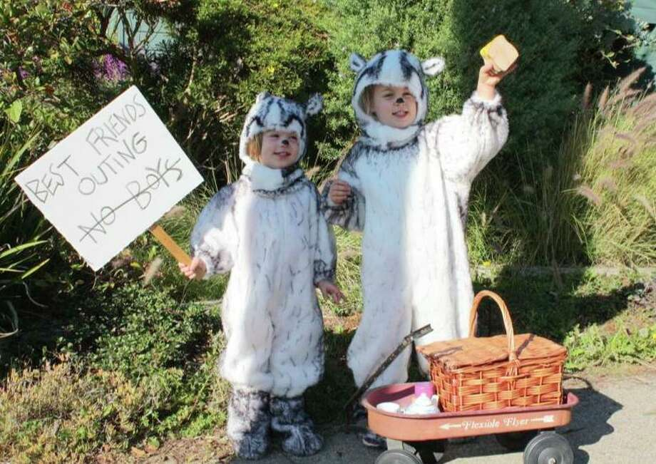 FINALIST! Kudos to Esme Shaller for recreating the 1960s Russell and Lillian Hoban books about Frances and Gloria the badgers. Four-year-old Keely and 2-year-old June seem to love their costumes. See the backs and source material in the next slide ...
