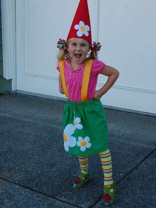 "FINALIST! Mother Amy had to make her garden gnome-loving daughter this costume out of necessity: ""I did not intend to make the costume, but she wanted to be a girl gnome and all I could find to purchase were boy gnomes or slutty girl gnomes (sigh)."""