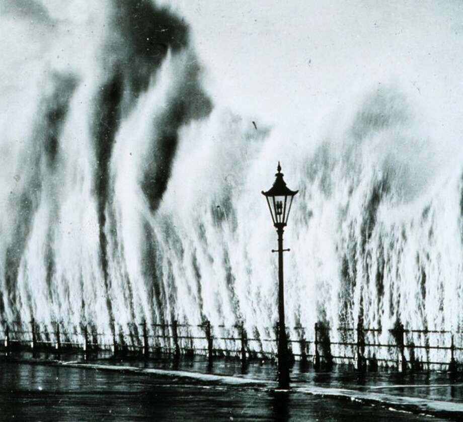 Waves striking seawall along the New England coast in 1938. (NOAA)