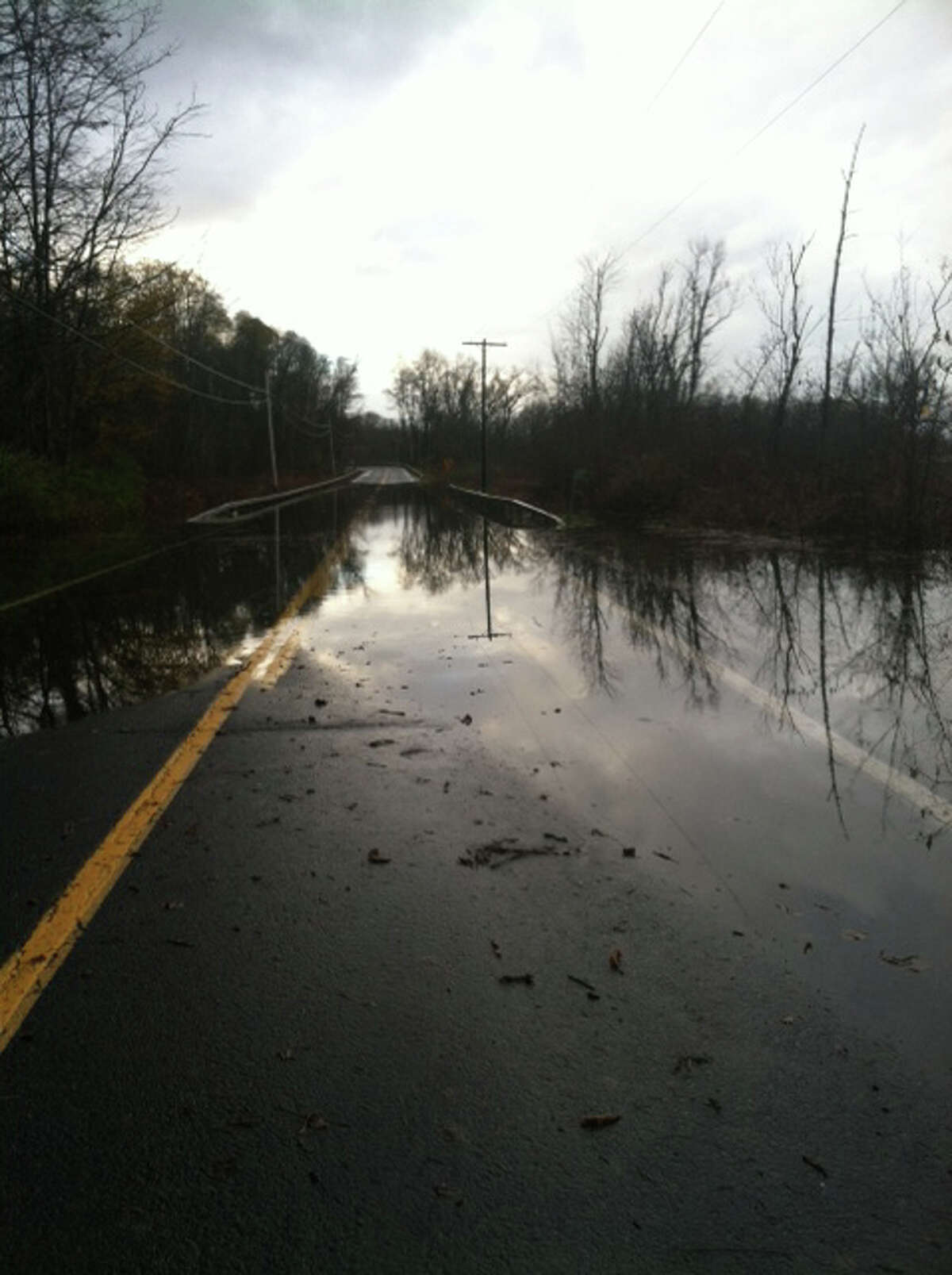 Sandy caused flooding on Route 9J in northern Columbia County on Tuesday, Oct. 30, 2012. (SCOTT WALDMAN / TIMES UNION)