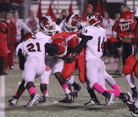 Jasper's defense brings down a Carthage runner. Photo: Jason Dunn