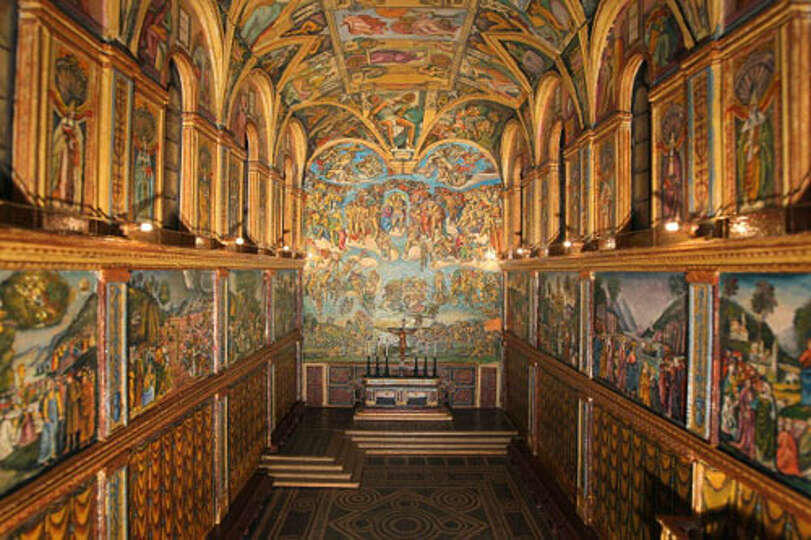 Picture shows the inside of a scale model of the Sistine ...