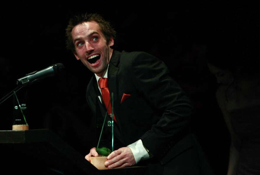 Outstanding Actor award winner Ryan Higgins speaks as he is announced as the winner for his role in