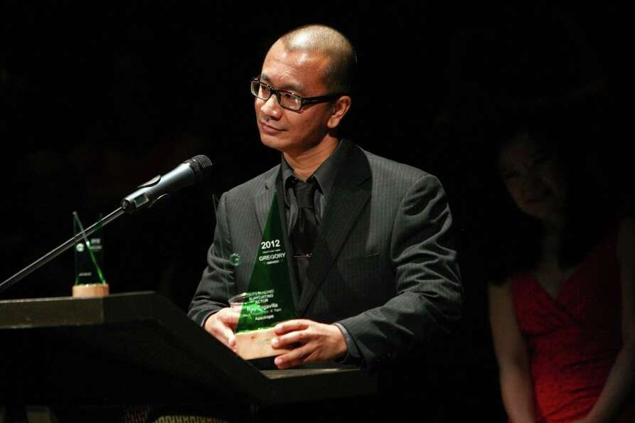 Ray Tagavilla accepts his award for Outstanding Supporting Actor for his role in