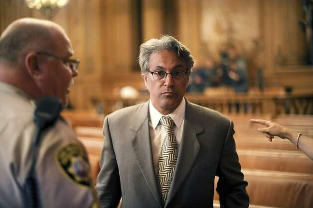 Suspended San Francisco Sheriff Ross Mirkarimi arrives at a Board of Supervisors meeting on Tuesday, Oct. 9, 2012, in San Francisco. Photo: Noah Berger, Associated Press