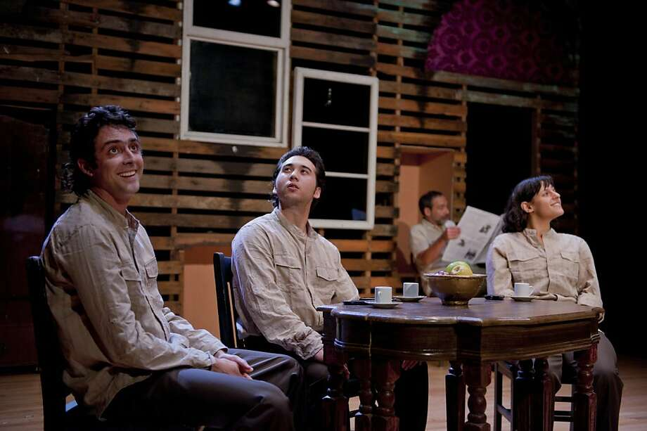 "Jesse Horne (left), Cory Censoprano, Roneet Rahamim and Garth Petal perform in Farzam Farrokhi's play ""2012."" Photo: DavidAllenStudio.com"