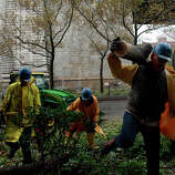 Workers clean up a fallen tree October 30, 2012 in New York City. The storm has claimed at least 16 lives in the United States, and has caused massive flooding across much of the Atlantic seaboard. US President Barack Obama has declared the situation a 'major disaster' for large areas of the US East Coast including New York City, with wide spread power outages and significant flooding in parts of the city.