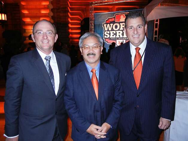 Fairmont V.P. Thomas Klein (left), Mayor Ed Lee, Giants V.P. Stephen Revetria at World Series Gala. Photo: Catherine Bigelow, Special To The Chronicle