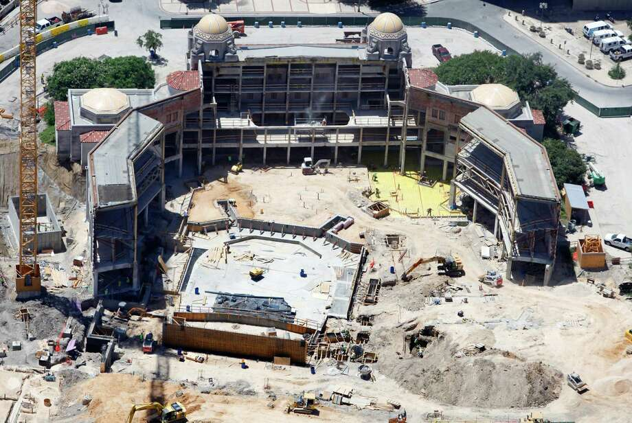 The under-construction Tobin Center, formerly Municipal Auditorium, is seen in a Wednesday Aug. 1, 2012 aerial image. The performing arts facility is expected to open in Fall 2014. Photo: William Luther, San Antonio Express-News / San Anotnio Express-News