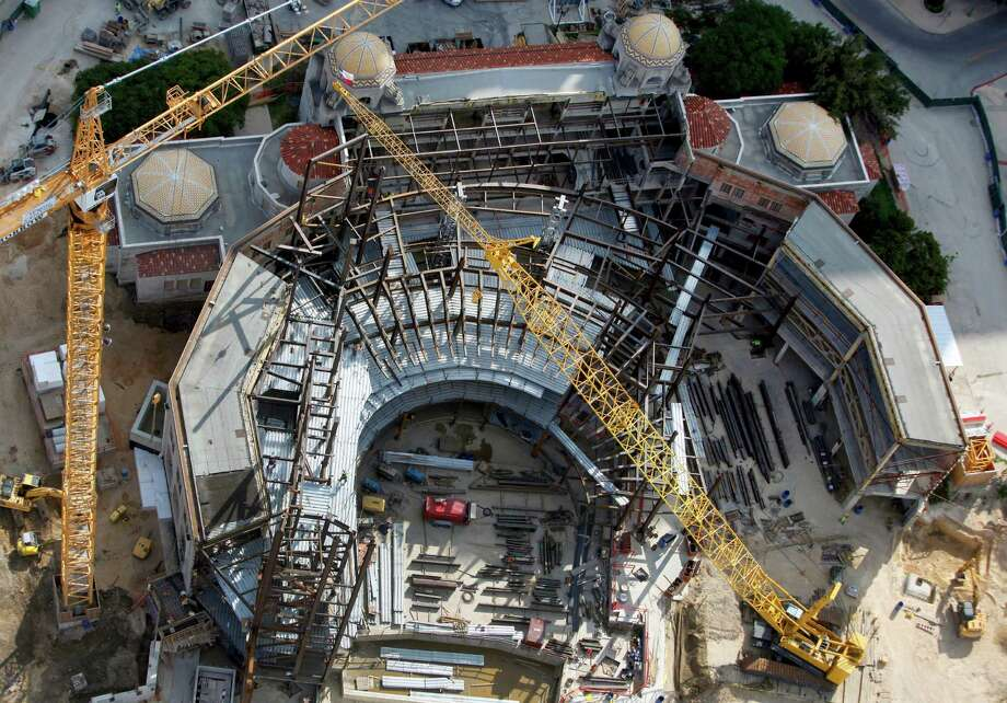 The still-under-construction Tobin Center for the Performing Arts is seen in this Oct. 25, 2012 aerial photo. The Tobin Center is being built on the site of the former Municipal Auditorium, saving only the historically significant facade of the old building. The facility is expected to open in Fall 2014. Photo: William Luther, San Antonio Express-News / San Anotnio Express-News