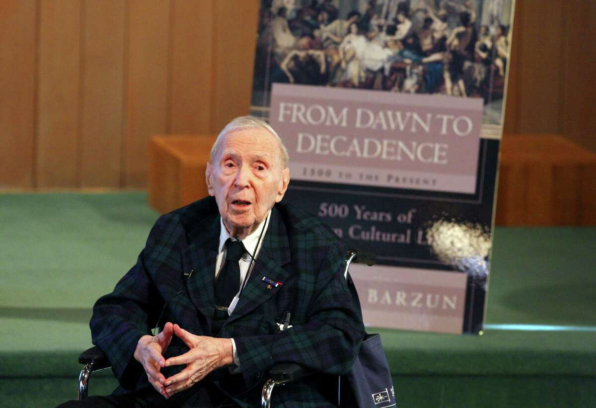 Author Jacques Barzun speaks at University Presbyterian Church in 2010. Barzun, who died last week at 104, was dignified, kind and had a strong sense of humor.