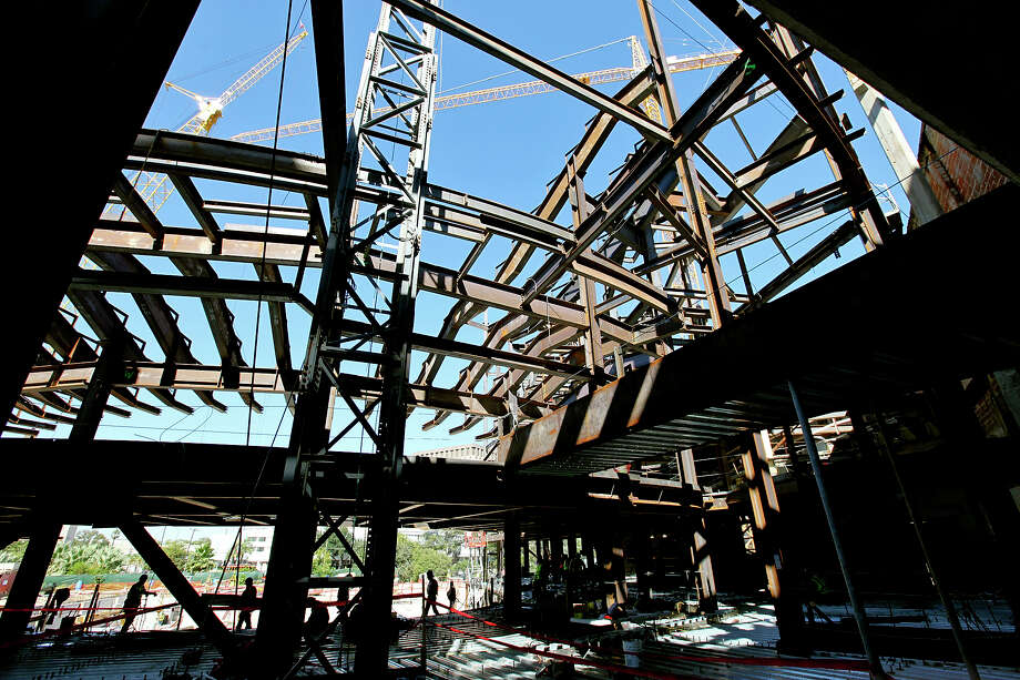 A view of construction on the Tobin Center for the Performing Arts Monday Oct. 29, 2012. Photo: Edward A. Ornelas, San Antonio Express-News / San Antonio Express-News