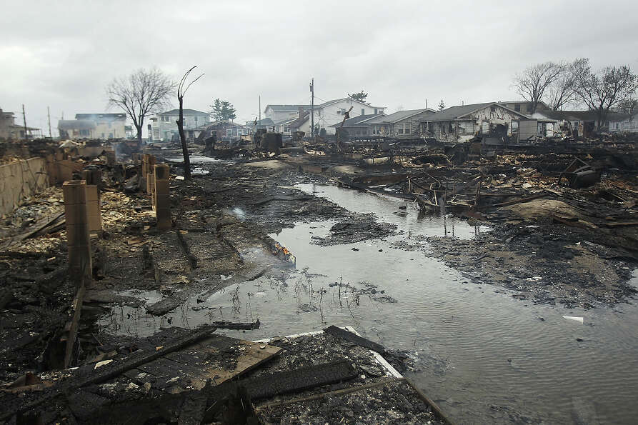 NEW YORK, NY - OCTOBER 30:  Homes destroyed during Hurricane Sandy are viewed on October 30, 2012 in