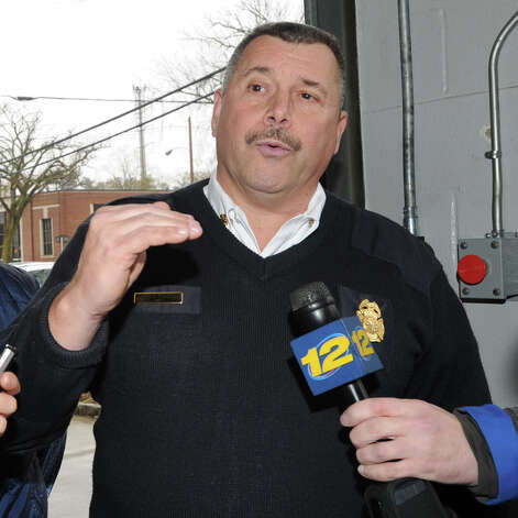 Greenwich Fire Chief Peter Siecienski speaks with the media at the Sound Beach Fire House in Old Greenwich, Tuesday morning, Oct. 30, 2012, the day after Hurricane Sandy hit Greenwich. Photo: Bob Luckey / Greenwich Time